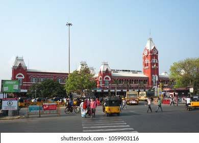 CHENNAI, TAMIL NADU, INDIA, APRIL 01, 2018: The Central Railway station, one of the historical buildings from the British era. Historic landmark buildings of Chennai.
