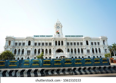 CHENNAI, TAMIL NADU, INDIA, APRIL 01, 2018: The Greater Chennai Corporation (Municipal corporation) building near the railway station, on a bright sunny day.