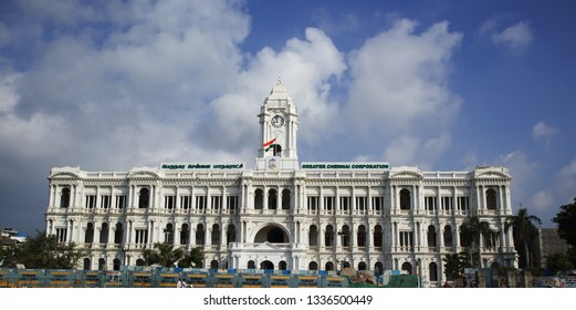 CHENNAI, TAMIL NADU, INDIA, February   09, 2019: The Greater Chennai Corporation (Municipal corporation) building near the railway station, also known as Ripon Building