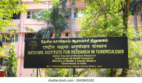 CHENNAI, TAMIL NADU, INDIA, MARCH 08, 2018: Board of the National Institute for Research in Tuberculosis (ICMR), Mayor Sathiyamoorthy Road, Chetpet, Chennai, on a sunny day.