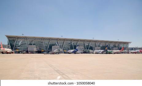CHENNAI, TAMIL NADU, INDIA - March 5, 2018. Chennai Airport, Meenambakkam, Chennai, India