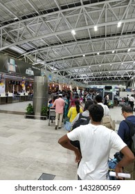 Chennai, Tamilnadu/India- 06 24 19: a long que of people standing in que waiting for check-in in Chennai domestic airport for air India flight