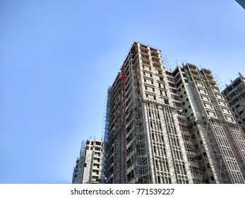 Chennai,India,Dec 09 2017: Heads up view of an under construction skeleton of a building.