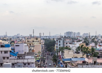Chennai,Tamil nadu,India Nov 19 2017: Wide view of cityscape of medium sized residential houses indicates the boom in real estate