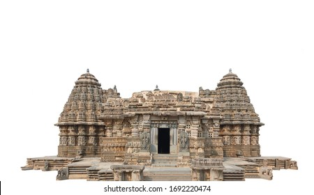 Chennakesava Temple, also called Keshava or Kesava, isolated on white background. It is a Hindu temple in Somanathapura, India.