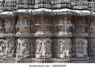 Chennakesava Temple, Vishnu Temple of the Hindus at Somanathapura near Mysore India.  It is dedicated to the Lord Vishnu, the Preserver, of the Hindu Gods, was built in 1258 CE by the Hoysala Kings.