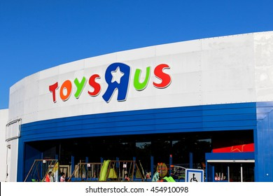 """CHENNEVIERES SUR MARNE - FRANCE, JULY 18, 2016: Toys """"R"""" Us store.  Toys """"R"""" Us is a chain of toy shops created in the United States."""