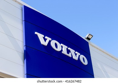 CHENNEVIERES SUR MARNE, FRANCE - MAY 5, 2016: Volvo sign. Volvo Cars is a Swedish carmaker, owned since 2010 the Chinese group Geely.