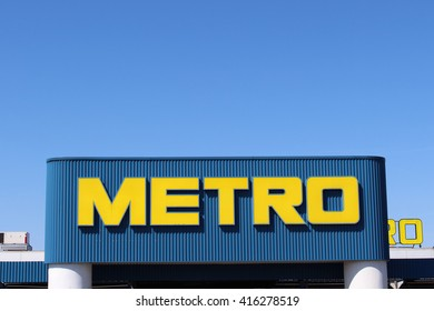 CHENNEVIERES SUR MARNE, FRANCE - MAY 5, 2016: Metro Group sign. Metro Group is a German distribution group. It is especially known for its wholesale stores, professionals in many countries.