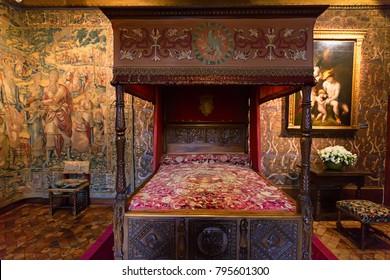 CHENONCEAU, FRANCE - CIRCA JUNE 2014: Catherine de' Medici's bedroom Chateau Chenonceau