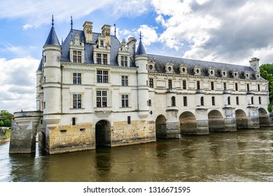 CHENONCEAU, FRANCE - JULY 2, 2016: Medieval Chateau de Chenonceau (1514 - 1522) spanning River Cher in Loire Valley in France. Chenonceau is second only to Versailles as most visited chateau in France