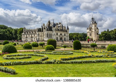 CHENONCEAU, FRANCE - JULY 2, 2016: A beautiful gardens surrounds the Chateau de Chenonceau. The Chateau de Chenonceau is located in Chenonceau near Amboise in the Loire Valley.