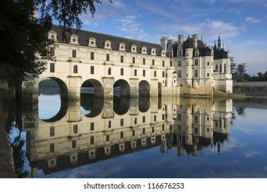CHENONCEAU, FRANCE - JULY 6. Loire Valley castle near the village of Chenonceaux, on July 6, 2012.  The current manor was designed by the French Renaissance architect Philibert Delorme.