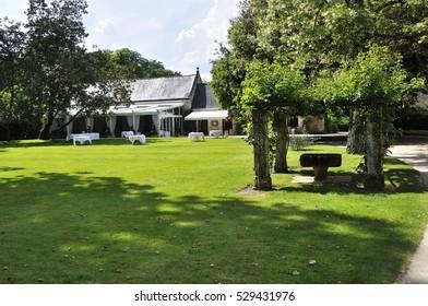 CHENONCEAU, FRANCE - JUNE, 2013 - Garden at the Chateau de Chenonceau, Loire Valley castle near the village of Chenonceaux.