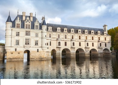 Chenonceau, France - November 6, 2016: Facade of Chateau de Chenonceau, medieval castle, Loire Valley. It was built in 15 century, mixture of late Gothic and early Renaissance. Unesco heritage site