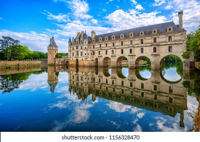 Chenonceaux, France - July 07 2017: The Renaissance Chateau de Chenonceau, built in the XVIth century, is one of the most beautiful castles of the Loire Valley and UNESCO World Culture Heritage Site