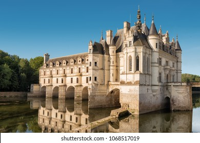 CHENONCEAUX, FRANCE - JULY 7, 2015 : Chenonceau chateau, built in the XVIth Century, is one of the most famous monument of the Loire Valley, inscribed on the world heritage list of UNESCO