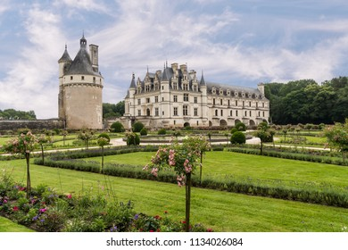 CHENONCEAUX, FRANCE - June14, 2018: Historic and beautiful Château de Chenonceau and  garden. It is located along the River Cher located in the Loire Valley in France.