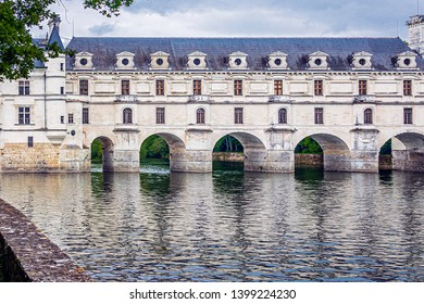 CHENONCEAUX, FRANCE - MAY 5, 2019. The beautiful Castle of Chenonceau is a castle of the Loire located in Touraine, in the department of Indre-et-Loire in the Center-Val de Loire region.