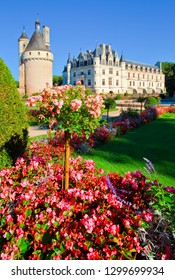 Chenonceaux, France - September 10  2018 : The castle and its gardens