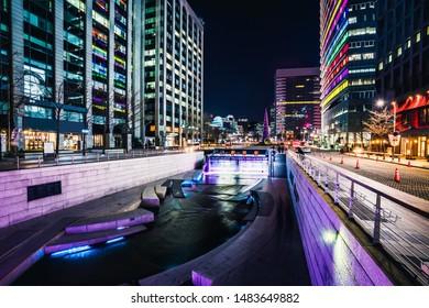 Cheonggyecheon Stream Park at night in Seoul City, South Korea