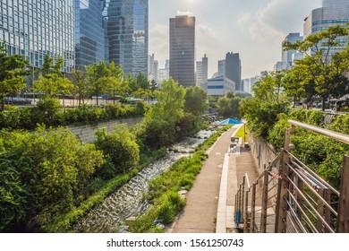 Cheonggyecheon stream in Seoul, Korea. Cheonggyecheon stream is the result of a massive urban renewal project