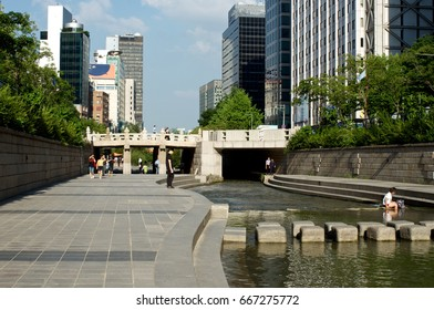 Cheonggyecheon stream in Seoul, South Korea in summer