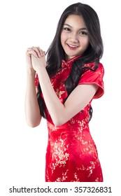 Cheongsam Red, Asian girl, white background, Isolated.