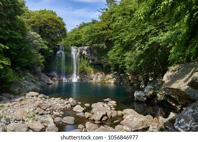Cheonjeyeon 2nd waterfall. Cheonjeyeon is a three-tier waterfall, which is one of the most famous falls in Jeju island, Korea. The forest around the falls was designated as a Natural Monument No.378.