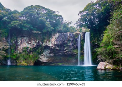Cheonjiyeon waterfall falls one of tourist attractions of Jeju Island, South Korea