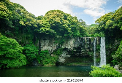 Cheonjiyeon Waterfall is a waterfall on Jeju Island, South Korea. The name Cheonjiyeon means sky. This picture well use in promoting the place for Jeju island, South Korea. Jeju is well-know island.
