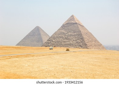 Cheops pyramid in the desert outside Cairo in Egypt