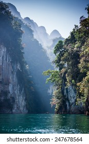 The Cheow Lan Lake. is located in Khao Sok National Park in Surat Thani Province, Thailand.