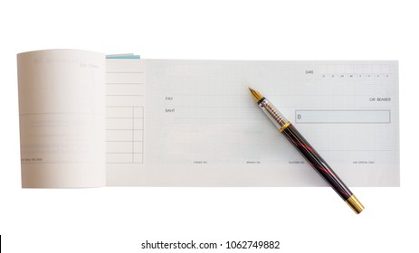 Cheque book and pen on white background. business plan in concept.