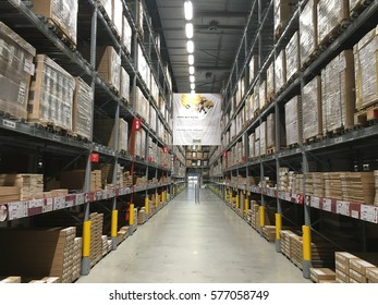 CHERAS, MALAYSIA - 5 FEB 2017: Warehouse aisle in an IKEA store. Founded in 1943, IKEA is the world's largest furniture retailer. IKEA operates 351 stores in 43 countries.