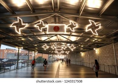 CHERAS, MALAYSIA – November 11, 2018: The dazzling display of LED lights at the walk way of newly opened Eko Cheras Mall.
