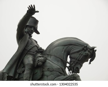 Cherbourg / France - 06 07 2018: statue of Napoleon Bonaparte, famous french emperor and military leader on horse, equestrian statue at Cherbourg city, Normandy, northern France, Europe