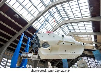 Cherbourg, France - August 26, 2018: Alvin submersible on the exhibition in maritime museum La Cite de La Mer or City of the Sea in Cherbourg, France.