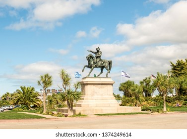 Cherbourg-Octeville, France - August 21, 2018: Equestrian statue of Napoleon, the work of Armand Le Veel, on Napoleon Square in Cherbourg, France.