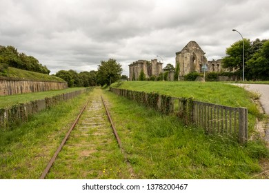 Cherbourg-Octeville, France - August 27, 2018: Remains of the Abbaye Notre-Dame du Voeu or Abbey of the Vow in Cherbourg. Basse Normandie, France