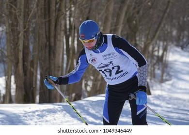 Cherepovets, Russia, March 8, 2018. Competitions in skiing. Ski marathon.