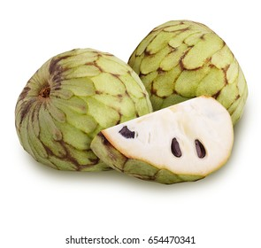 cherimoya set Isolated on white background Clipping path