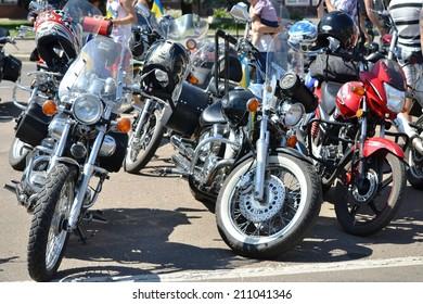 "CHERKASSY, UKRAINE - AUG 2: Motor Festival with bikers on motorcycles in Cherkassy ""Road to Cich"", 2 August 2014, Cherkassy, Ukraine"