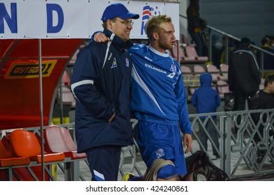 CHERKASSY, UKRAINE - OCT 08: Injured football players Iceland during the qualifying round of Euro-2017 national team Ukraine U21 vs Iceland U21, 08 October 2015, Cherkassy, Ukraine