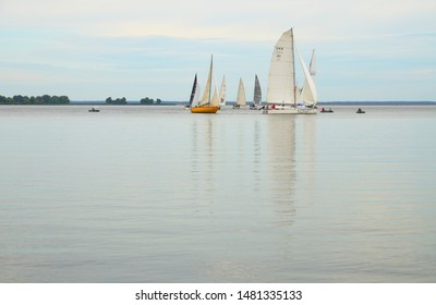 Cherkasy, Ukraine - August 11 2019: Sailing regatta. Yachts with the name Indraft and Persey pass the return point.