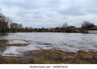 Chernihiv / Ukraine 02 April 2018: Flooding of Stryzhen river in spring in Chernihiv town during melting of snow. Natural disaster. 02 April 2018 Chernihiv / Ukraine