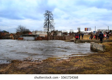 Chernihiv / Ukraine 02 April 2018: Flooding of Stryzhen river in spring in Chernihiv town during melting of snow. Natural disaster. Flood between private houses. 02 April 2018 Chernihiv/Ukraine