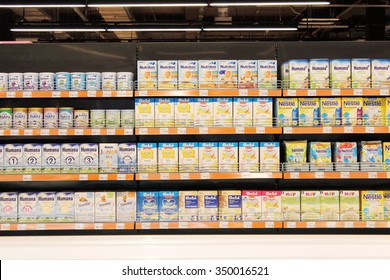 Chernihiv / Ukraine - 04 September 2015: baby nutrition of different producers on the shelves of shop. 04 September 2015 in Chernihiv / Ukraine.