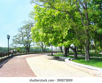 Chernihiv / Ukraine - 06 May 2012: people having a rest in the city park with big trees. 06 May 2012 in Chernihiv / Ukraine.