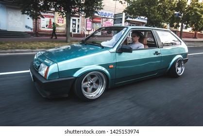 Chernihiv, Ukraine - 07/08/2017. Stance  car Lada 2108 rides through the streets of the city.